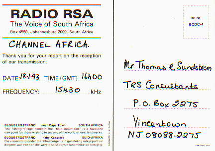 Channel Africa back 1993